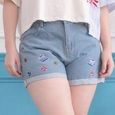 Poly Lulu 海邊圖案刺繡反摺牛仔短褲-藍【96210042】