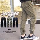 慢跑褲 Jogger風格工作口袋縮口褲/...