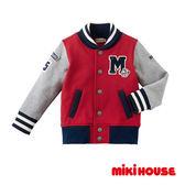 MIKI HOUSE   日本製 美式休閒風字母棒球外套(紅)