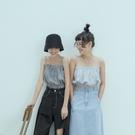 Queen Shop【01150270】格紋平口細肩帶短版背心 兩色售*現+預*