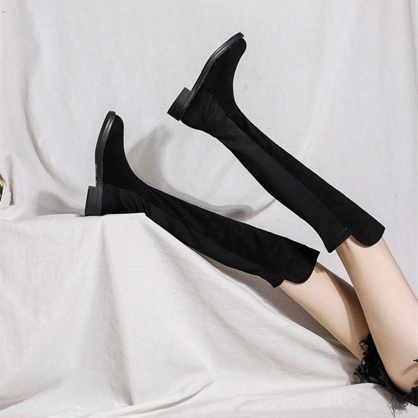 秋冬新款過膝彈力 布加絨拼接長筒靴平底網紅靴高靴瘦瘦女靴子