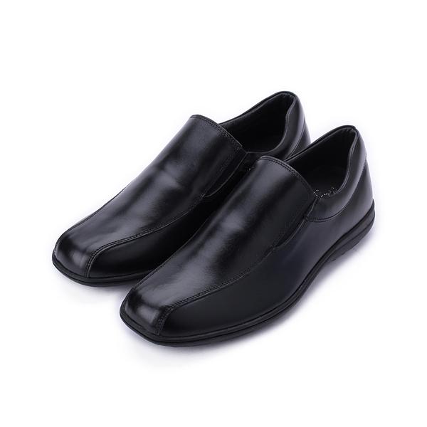 BONJO 真皮方頭套式休閒皮鞋 黑 男