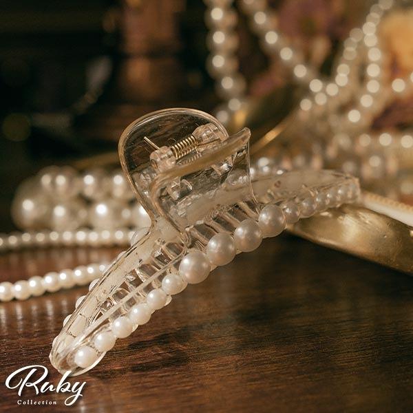 髮飾 一字珍珠鯊魚髮夾-Ruby s 露比午茶