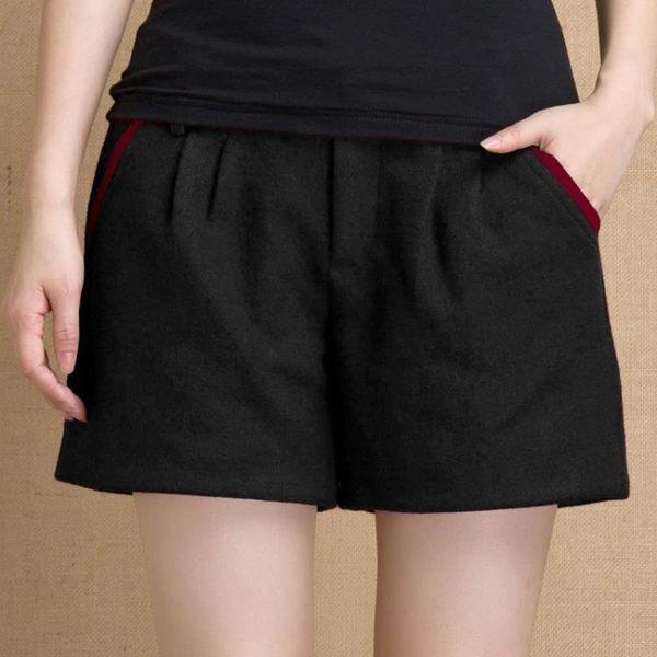 毛呢短褲女秋款高腰寬鬆哈倫褲休閒褲呢子黑色靴褲 優家小鋪