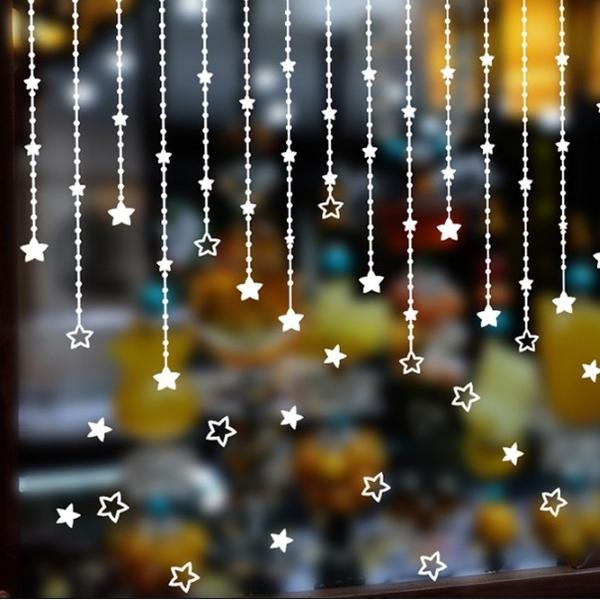 ►壁貼 星星吊墜 城鎮聖誕雪花牆貼 PVC 透明膜牆貼 聖誕節 熱銷【A3303】
