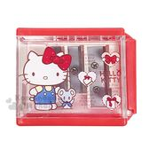 〔小禮堂〕Hello Kitty 三孔削筆器《紅.站姿.愛心.禮物》文具.削鉛筆器 4712937-66925