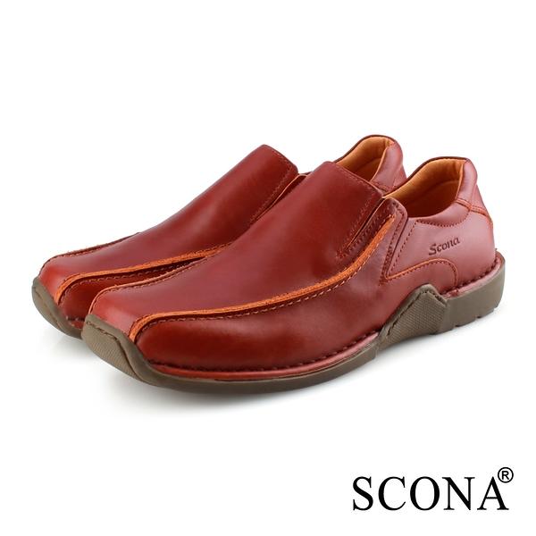 SCONA 蘇格南 全真皮 手工精縫套式休閒鞋 古銅色 1276-2