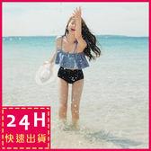 梨卡★ 比基尼 泳衣 泳裝 -天使微笑 [鋼圈+露肩一字領] 二件式比基尼 - 甜美荷葉邊綁帶高腰C800
