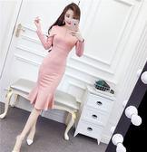 VK旗艦店 韓國風前后拉鏈氣質修身收腰顯瘦包臀過膝魚尾裙長袖洋裝