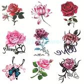 紋身貼【50張套裝】防水女持久玫瑰花朵蝴蝶個性小清新刺青遮疤貼【萌萌噠】