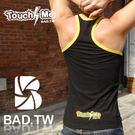 奢華壞男《 TOUCH ME限量款 - 合身超彈性挖背背心 (黑底滾黃邊) 》【S / M / L / XL 】(潮T、上衣、服飾)
