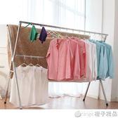 晾衣架落地折疊室內外陽台雙桿式涼曬衣架行動簡易掛衣桿被子架QM    橙子精品