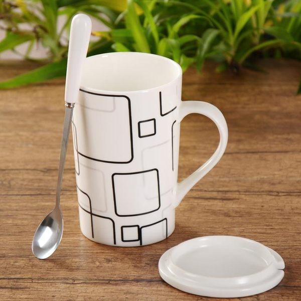 杯子 簡約陶瓷杯子創意情侶水杯大容量喝水馬克杯帶蓋勺 好康免運