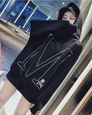 新款韓版慵懶風鬆鬆垮垮酷大學T女長袖薄款學生連帽上衣外套潮