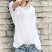夏季純白色圓領短袖t恤女竹節棉麻韓版學生簡約寬鬆半袖上衣  凱斯盾數位3C
