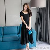 洋裝 1502#夏季港味收腰顯瘦荷葉邊長款洋裝 優家小鋪