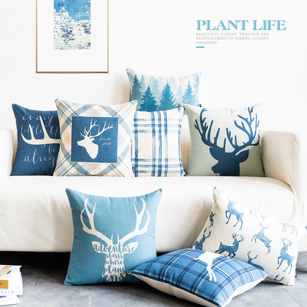 預購★0509-10北歐簡約ins抱枕套藍色沙發靠枕靠墊床頭靠背墊辦公室抱枕靠枕套 方形/長形 (不含芯)