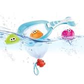 貝恩施嬰兒戲水玩具 兒童寶寶鯨魚撈撈網浴室洗澡玩具噴水套裝