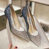 婚鞋婚鞋女2018新款金色新娘高跟鞋尖頭細跟公主水晶鞋宴 貝芙莉女鞋