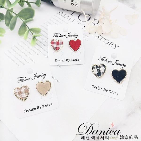 現貨 韓國少女心氣質甜美愛心格子不對稱925銀針耳環 夾式耳環 S93134 批發價 Danica 韓系飾品