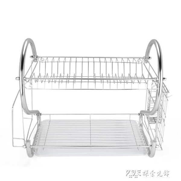 不銹鋼雙層碗盤架瀝水架廚房用品置物架收納碗筷晾放碗碟架餐具架 ATF 探索先鋒