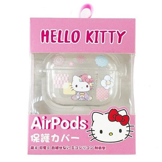 小禮堂 Hello Kitty Apple AirpodsPro 透明保護殼 藍牙耳機盒 耳機保護套 (紫 和服) 4710810-65022