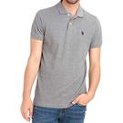 US Polo - 馬球全棉寬鬆裁剪Polo衫(灰色)