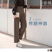 《BA4526》臧芮軒。附腰帶後腰鬆緊打褶純色質感寬褲 OrangeBear
