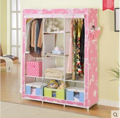 溢彩年華簡易衣櫃不銹鋼加大號布衣櫃多功能淋膜布收納衣櫥