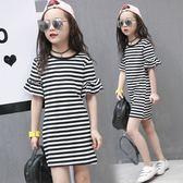 *╮小衣衫S13╭*中大童小喇叭短袖黑白條紋連身裙1070322
