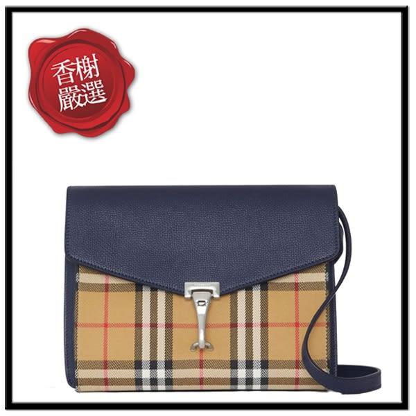 BURBERRY小型VINTAGE格紋皮革斜背包/藍40800781全新商品