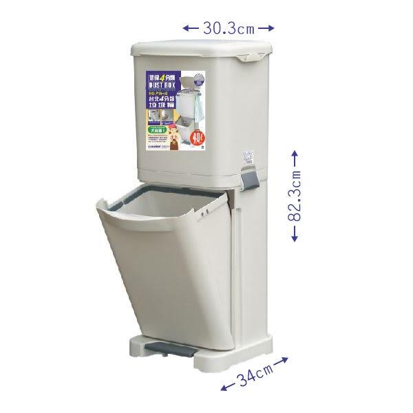 【生活大買家】免運 PW40 台北四分類垃圾桶 資源回收桶 垃圾分類桶 垃圾桶 兩層式