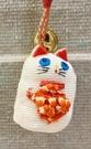 【震撼精品百貨】招財貓_招き猫~日本招財貓吊飾/鑰匙圈-布白#28280