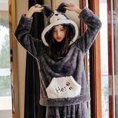 珊瑚絨睡衣女秋冬季加厚甜美可愛韓版冬天法蘭絨家居服卡通套裝全館 萌萌