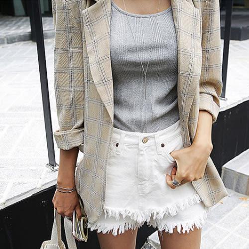 西裝外套 極致柔和淺格紋單排釦外套 艾爾莎【THB4611】