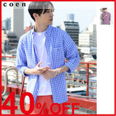 出清 男襯衫 巴拿馬 細格紋 7分袖上 免運費 日本品牌【coen】