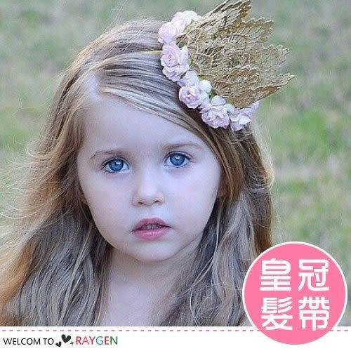 甜心公主蕾絲玫瑰花皇冠造型髮帶 髮箍