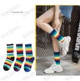 韓版襪子女潮ulzzang韓國學院風個性街頭潮流彩虹色條紋中長筒襪