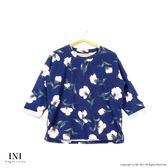 【INI】時尚有感、韓版面料硬挺印花上衣.深藍色