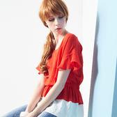 【SHOWCASE】拼接配色荷葉袖縮腰雪紡上衣(紅)
