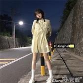 長袖洋裝 原感少女秋季20年新款韓版抽繩設計百褶碎花裙寬鬆長袖連身裙 小天使