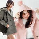 MIUSTAR 連帽球球雙排釦毛料大衣(...
