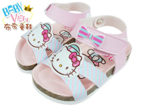 《布布童鞋》HelloKitty凱蒂貓粉色水手蝴蝶結歐風氣墊涼鞋(13~14公分) [ CH1643G ] 粉紅款