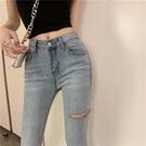 窄管褲 破洞牛仔褲女薄款女裝夏季彈力緊身高腰顯瘦淺藍色小腳褲-Ballet朵朵