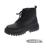 黑色顯腳小馬丁靴女夏季薄款潮ins2021新款英倫風網紅瘦瘦短靴子