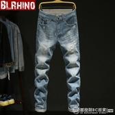 秋季牛仔褲男寬鬆褲子青年長褲子修身直筒復古色破洞牛仔長褲男褲  圖拉斯3C百貨
