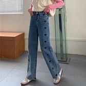 褲子設計感愛心刺繡牛仔褲女直筒chic港味闊腿褲GB210B.C59胖胖唯依