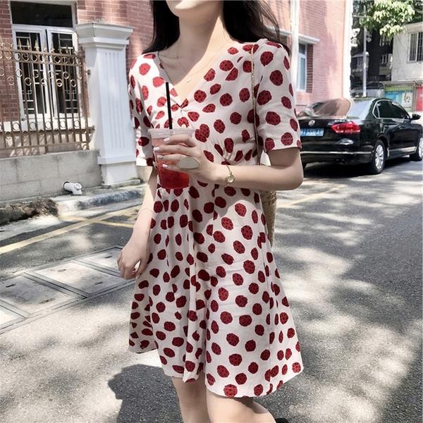 出清388 韓系小清新顯瘦V領波點雪紡短袖洋裝