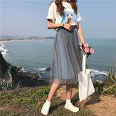 夏季韓版新款網紗拼接牛仔a字半身裙高腰顯瘦百搭小清新裙子