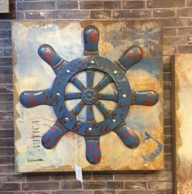 [協貿國際]   船錨裝飾畫咖啡廳牆上裝飾品挂件  (1入)